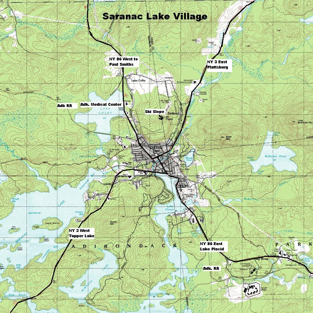 Saranac Lake Village Topographic Map