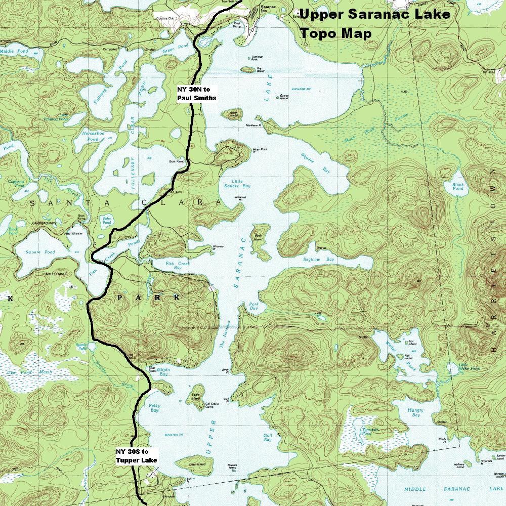 Ny Route 3 The Olympic Trail Upper Saranac Lake Topographic Map