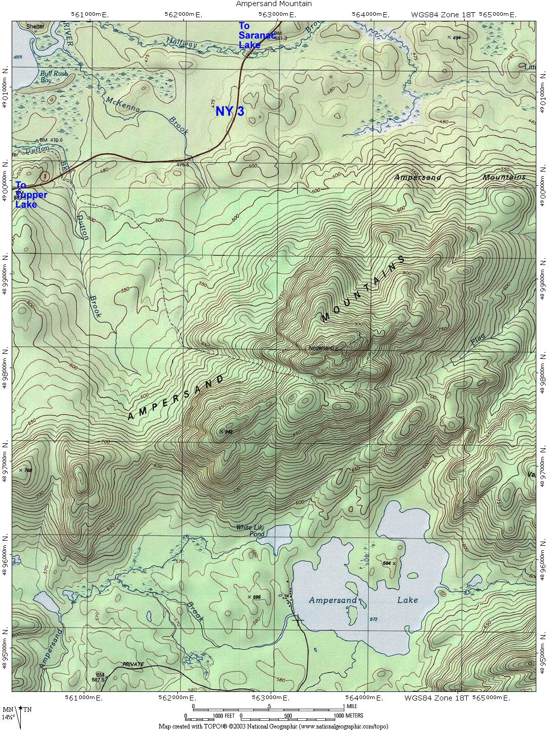 Ampersand Mountain Topographic Map